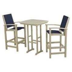 Polywood Coastal 3-Piece Sling Bar Furniture Set - Black/Brown
