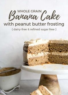 Healthier Whole Wheat Banana Cake with Peanut Butter Frosting {dairy-free refined sugar-free} Fit Mitten Kitchen Healthy Banana Cakes, Healthy Cake, Healthy Dessert Recipes, Healthy Baking, Cake Recipes, Banana Recipes, Healthy Snacks, Sugar Free Peanut Butter, Peanut Butter Frosting
