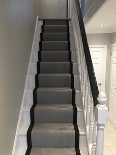 Stair carpet ideas grey grey stair runner the flooring group home interior wall decor catalog Hallway Carpet, Carpet Stairs, Bedroom Carpet, Living Room Carpet, Wall Carpet, Victorian Hallway, Flur Design, Ikea, Edwardian House
