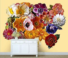Flower Mural, Curtains, Shower, Type, Wallpaper, Search, Gallery, Prints, Etsy