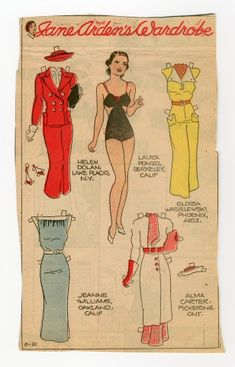 78.2378: Jane Arden's Wardrobe | paper doll | Paper Dolls | Dolls | Online Collections | The Strong