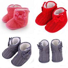Baby Toddler Kid Boy Girl Bowknot Wool + Fleece Slipper Prewalker Shoes Boots #Unbranded #WalkingShoes