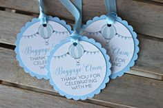 "Boy / 1st Birthday Hot Air Balloon / Adventure Awaits  ""Baggage Claim"" Favor Tags.  Set of 18.  Blue, Grey party decor. by CharmingTouchParties on Etsy"