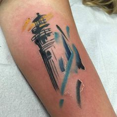Tattoo by Ryan #lighthousetattoo #lighthouse #watercolor #watercolortattoo…