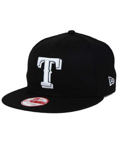 8fa343cc143 New Era Texas Rangers B-Dub 9FIFTY Snapback Cap Black And White Design