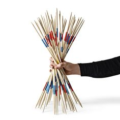 Pick up a set of pick-up sticks for £4. And when you've picked them all up, you can knit a really wide scarf, and if you drop a stitch, just pick it up again.