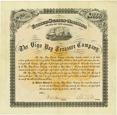 HWPH AG - Historic stock certificates - Vigo Bay Treasure Company State of New Jersey, 1 October 1884, Bond for US-$ 1,000 in Gold, #100