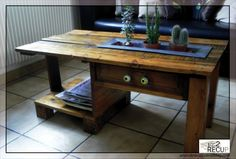 """Coffee table made from a pallet..has drawer too..pinned from """"It's a Pallet Jack"""" by Pamela"""