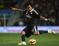 Marcelo of Real Madrid in action during the La Liga match between Elche FC and Real Madrid CF at Estadio Manuel Martínez Valero on February 22, 2015 in Elche, Spain.