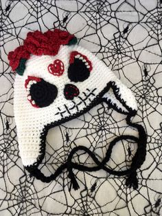 A personal favorite from my Etsy shop https://www.etsy.com/listing/470730872/sugar-skull-crochet-hat-day-of-the-dead