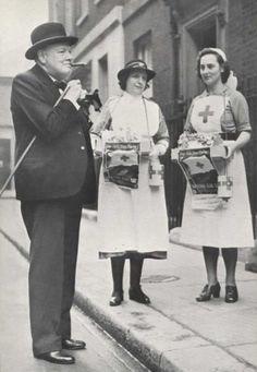 Winston Churchill with nurses