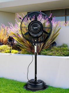 Keep you patio cool with this outdoor misting fan. It covers 800 square feet, creating a comfortable outdoor environment even during the dog days of summer. Click to see more patio cooling alternatives.