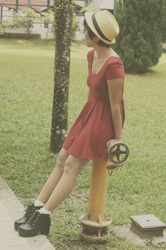 Cute Outfits, red skater dress, ankle boots, vintage outfit, vintage lookbook, vintage fashion, style, fashion blogger, everyday outfit