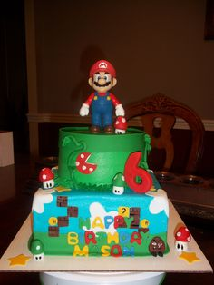 Mario Bro Birthday cake! Fifth birthday party!! Who can make this?!?