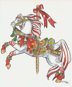 """Cand Cane Carousel Horse {as titled by artist ~ probably meant """"Candy""""...} ~ artist: Heather Bruton {~Hbruton} on deviantArt"""