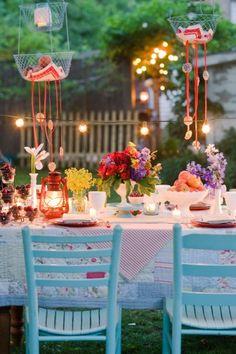 beautiful garden table mini globe lights, lighting, outdoor, party, reception