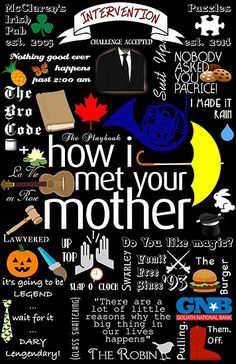 I don't own the series How I Met Your Mother, I really love the show. If I am infringing on any copy rights laws please let me know and I will take this. I made a collage of some cute quotes and references to show. How I Met Your Mother, Friends Tv Show, Friends Series, Rock Poster, Yellow Umbrella, Make It Rain, Himym, Mother Quotes, Movie Posters