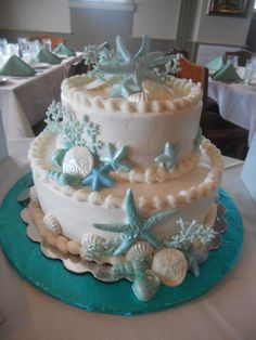 Seashell bridal shower cake