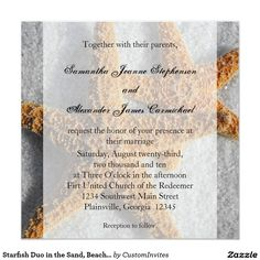 Starfish Duo in the Sand, Beach Wedding Square 5.25x5.25 Square Paper Invitation Card