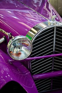 Oh...My....Heavens!!! Classic auto, antique, purple. A classic car in purple would be a dream but I don't know anyone who could afford to buy this for me. Just a dream :)