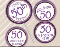 New Birthday Cupcakes Toppers Circles Ideas 40th Birthday Cupcakes, 50th Birthday Decorations, Mum Birthday Gift, Happy 40th Birthday, Happy 50th, Birthday Ideas, 50 Birthday, Birthday Cookies, Birthday Wishes
