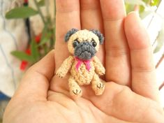 Mini Crochet Fawn Pug Dog  - Teeny Tiny Dollhouse Miniature Pet - Made To Order