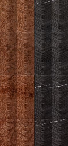"""Marble wall textures in multicolours. Our """"pagoda"""" from the """"Cesello"""" collection. Marble Wall, Marble Tiles, Decorative Stone Wall, Red Colour Palette, Color, Stone Wall Panels, Japanese Pagoda, Wall Textures, Textured Walls"""