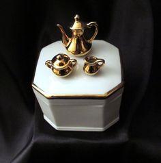 Vintage Enesco 1978 Porcelain Ceramic Box with Golden Tea Set and 18K Gold trim. $12.00, via Etsy.