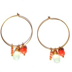 Chalcedony and Coral Hoop http://www.peytonwilliam.com/new-products-2/chalcedony-and-coral-hoop-earring