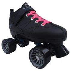 Pacer Mach-5 Black Pink Speed Skates - Mach5 GTX500 Quad Roller Skates by Pacer. $59.00. Pacer Mach-5 GTX500 Black Quad Speed Skates - Black Boots with Black Wheels & Pink Laces - Looking for the perfect beginner quad speed skate or an entry level roller derby skate? Look no further than the Pacer Mach-5 GTX500 speed skate! The Mach-5 GTX500 quad skate features a comfortable boot with lots of padding for long hours at the rink. The Mach-5 GTX500 speed skate has a sturdy fram...