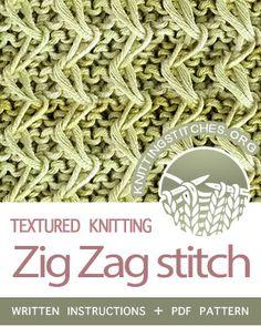 SLIP STITCH KNITTING. #howtoknit the Zig Zag stitch. FREE written instructions, PDF knitting pattern.  #knittingstitches #slipstitchknitting