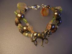 DRESSAGE Horse bracelet with Champagne by ForgeHillSculpture, $69.00
