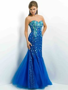 Trumpet/Mermaid Sweetheart Sleeveless Tulle Prom Dresses With rhinestone#FP471
