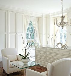Custom Made Re-Issue English Club Chairs by Artful Dodger, Interior Design Project by Gail Plechaty for Traditional Home Magazine Serene Bedroom, White Bedroom, Build A Closet, Boudoir, White Decor, Traditional House, Home And Living, Windows, Decoration