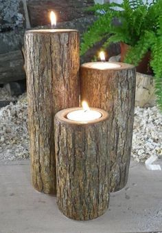 Homemade candles carved into wooden blocks / http://www.himisspuff.com/rustic-wedding-ideas-with-tree-stump/3/