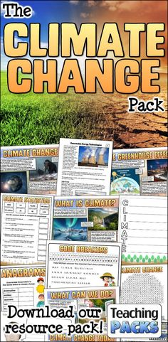 Learn about climate change, its effects and what we can do to help, with our enormous teaching pack. It includes topic guides, a video introduction, printable activity resources and display materials. Science Curriculum, Science Resources, Activities, What Is Climate, Teaching Packs, About Climate Change, Important Facts, Energy Technology, Renewable Energy