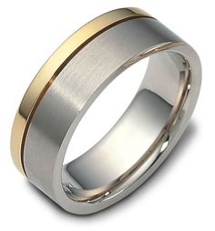 Dora Mens Wedding Band with Gold Stripe. This 14k gold men's wedding band features a two tone design and a bold stripe.