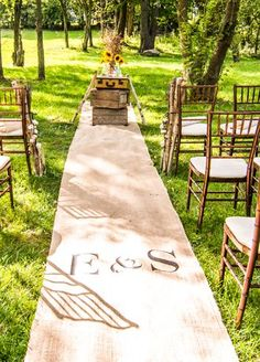 Personalize your aisle with this burlap runner. At @DavidsBridal