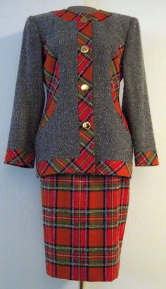 Vintage Bill Blass Grey Tweed Suit with Plaid Accents