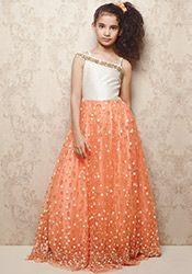 Doll Deep Peach Net Kids Gown