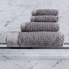 Serviette de bain Couture Gris feutre 100% coton - Le Bain - Le Jacquard Français