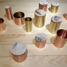Brass and copper vessels from Finland at Salone Satellite. #design