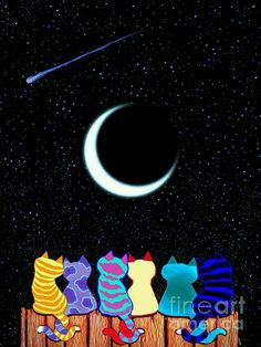Six Colorful Kitty's Staring at Moon