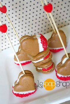 Espresso Your Love Macarons by Le Pop Shop with heart sticks
