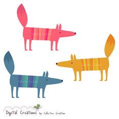 Stripey Fox Digital Clipart   CollectiveCreation via Etsy