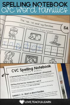 This CVC Notebook will help your students master the short vowel word families. Includes detailed Teacher's manual. Helps build phonemic awareness and handwriting skills. This CVC printable is a fun way for your Kindergarten class to review phonics, short vowels, beginning and ending sounds. Students can refer to the notebook for spelling, for writing centers, and review. Use them in your small groups, literacy centers, or as a classroom activity. #kindergarten #firstgrade Phonics Rules, Teaching Phonics, Elementary Teaching, Teaching Resources, Teaching Ideas, Writing Centers, Literacy Centers, Spelling Activities, Classroom Activities