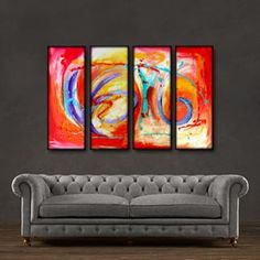 "'Morning dance' - 48"" X 30"" Original Abstract Art Painting"