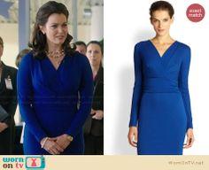 Mellie's blue long sleeved dress on Scandal. Outfit Details: http://wornontv.net/30094/ #Scandal