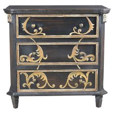 Painted weathered charcoal finish with gold tone scroll design on drawer fronts. Stein World Summer 2016 Made in India Finish: Charcoal,Gold,Antique Brass Dimensions: Length 37 Width 18 Weight 81 Hand Painted Furniture, New Furniture, Furniture Outlet, Online Furniture, Furniture Movers, Repurposed Furniture, Kitchen Furniture, Furniture Ideas, 3 Drawer Chest