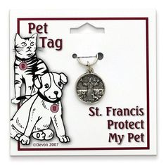 Small Pewter St Francis Protect My Pet Tag
